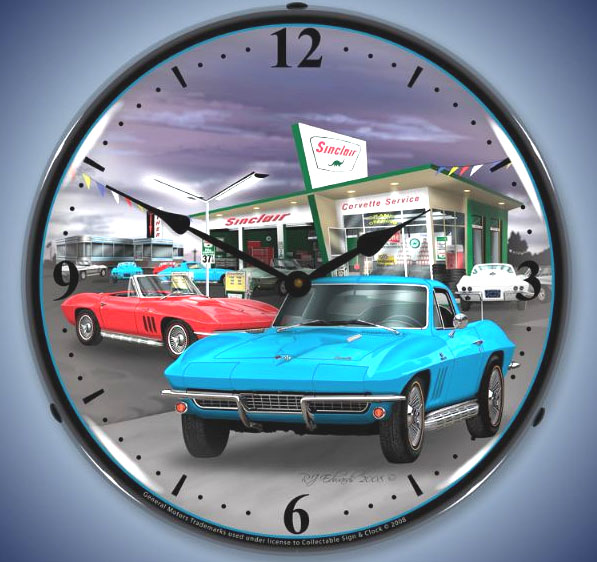 Corvette 1966 Sinclair Gas Station Lighted Clock