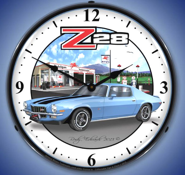 1970 Camaro Z/28 Mobil Gas Station Lighted Clock