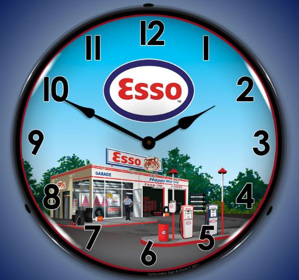 Esso Gas Station Lighted Clock Nostalgia