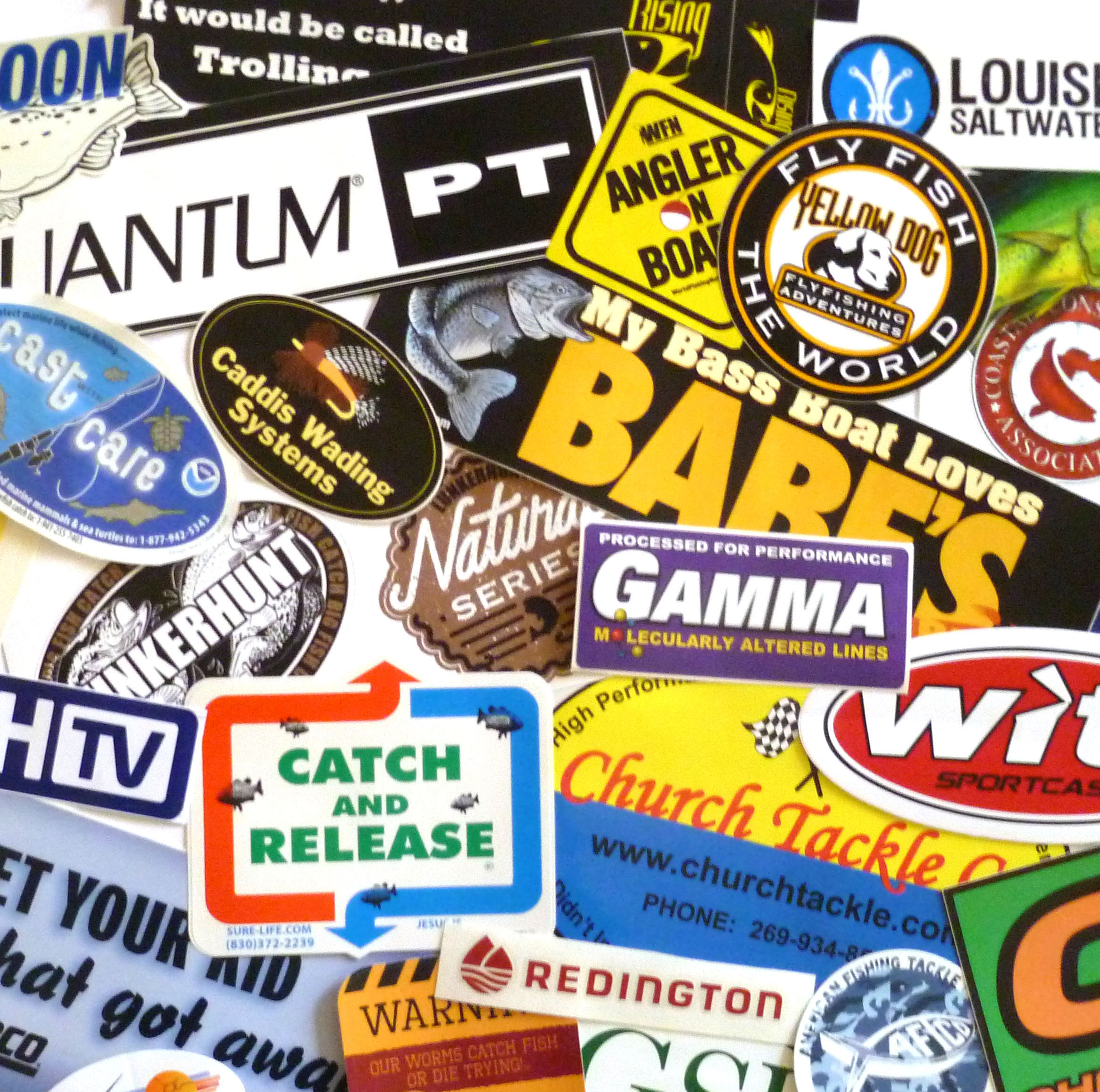 Fishing sticker decal grab bag assortment of 15 for Free fishing stickers