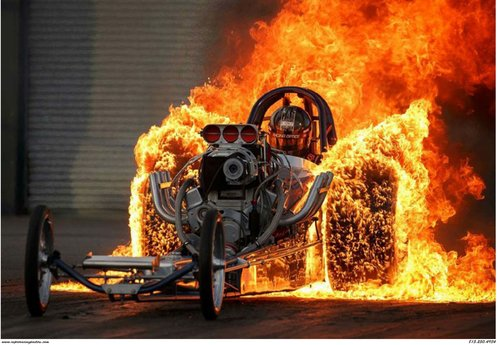 Front Engine Top Fuel Dragster Fiery Burnout Crashdaddy