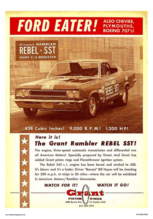 Grant piston rings rebel sst racing poster 1960s crashdaddy grant piston rings rebel sst sciox Image collections